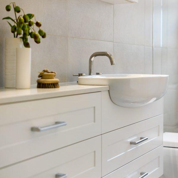 Custom joinery in a narrow bathroom