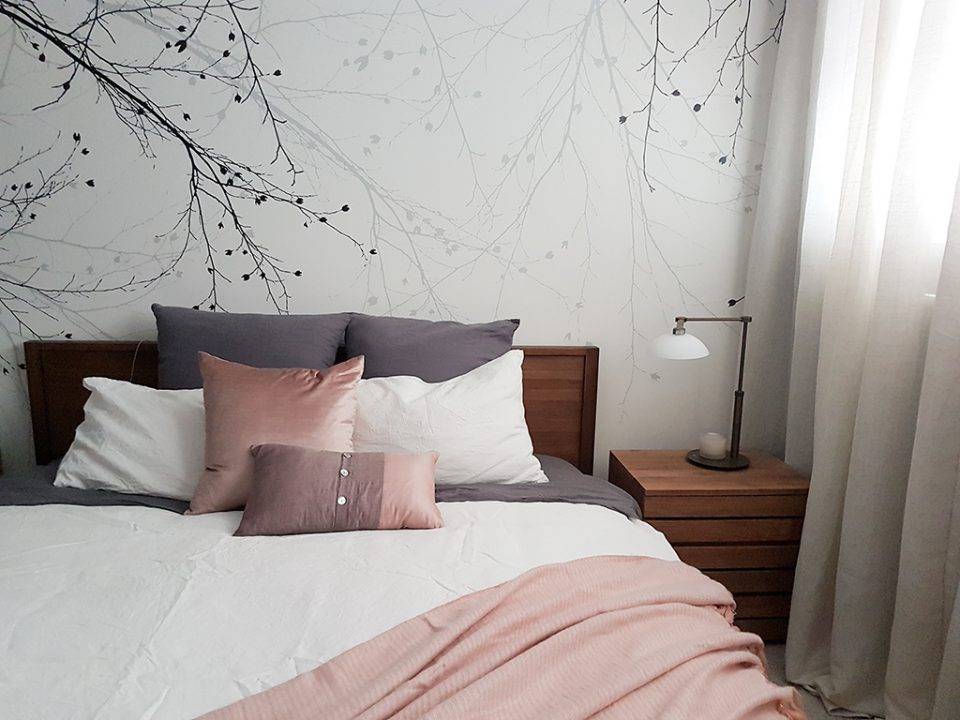Bedroom with feature wallpaper