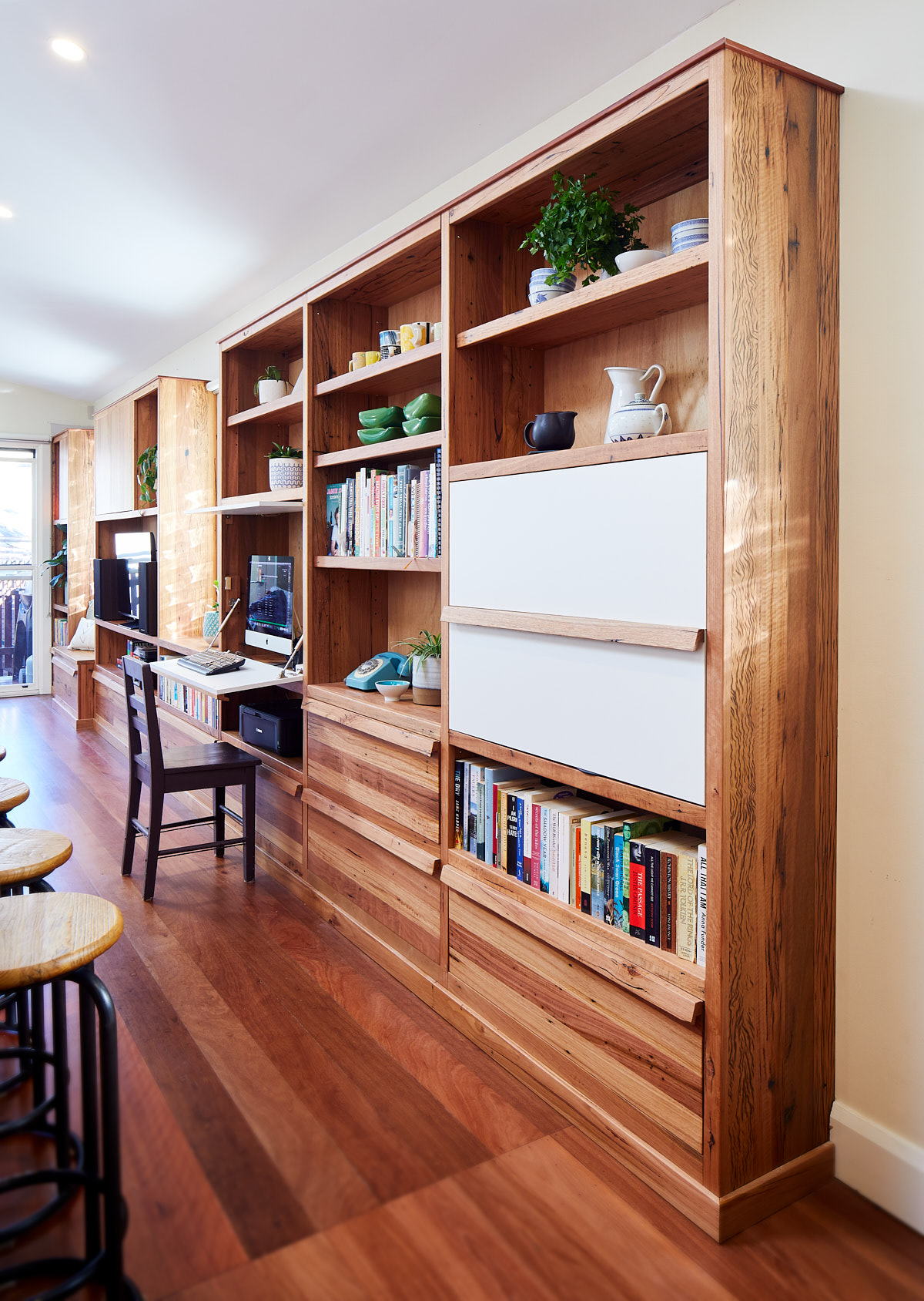 Large timber bookcase with desk open