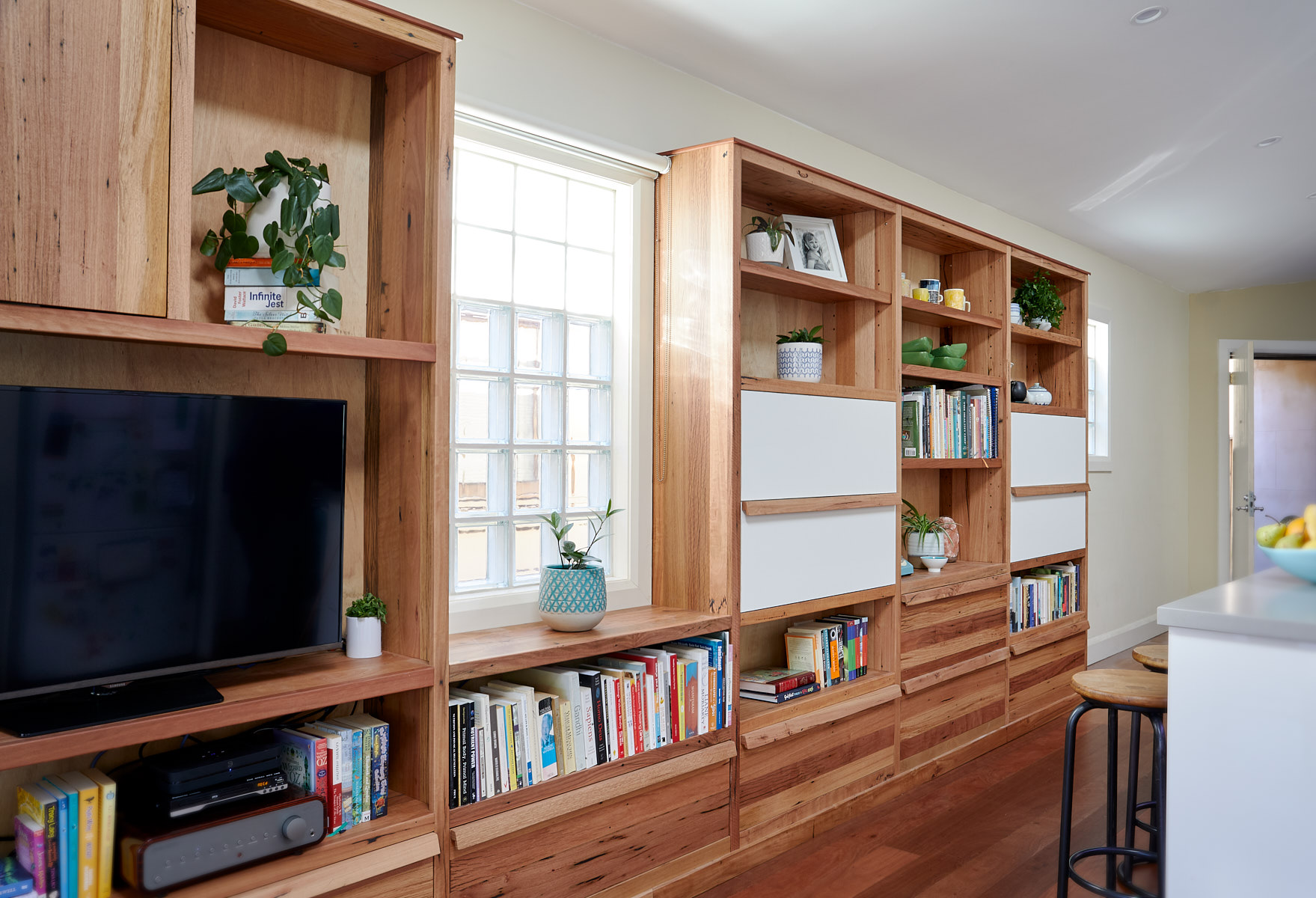 Large reclaimed timber bookcase
