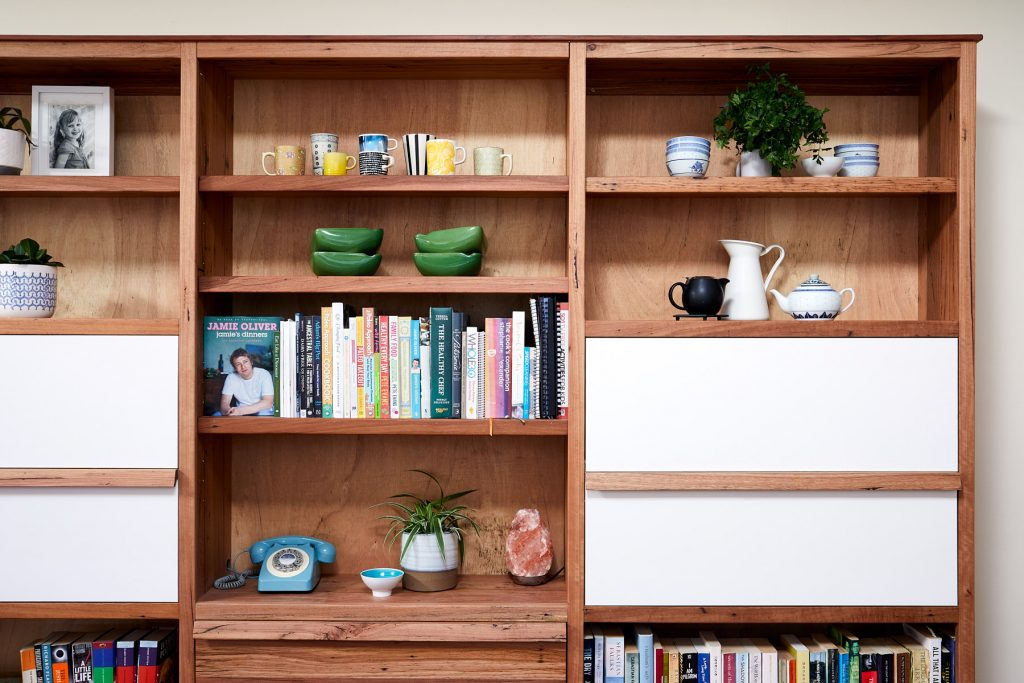 timber bookcase appliance nook