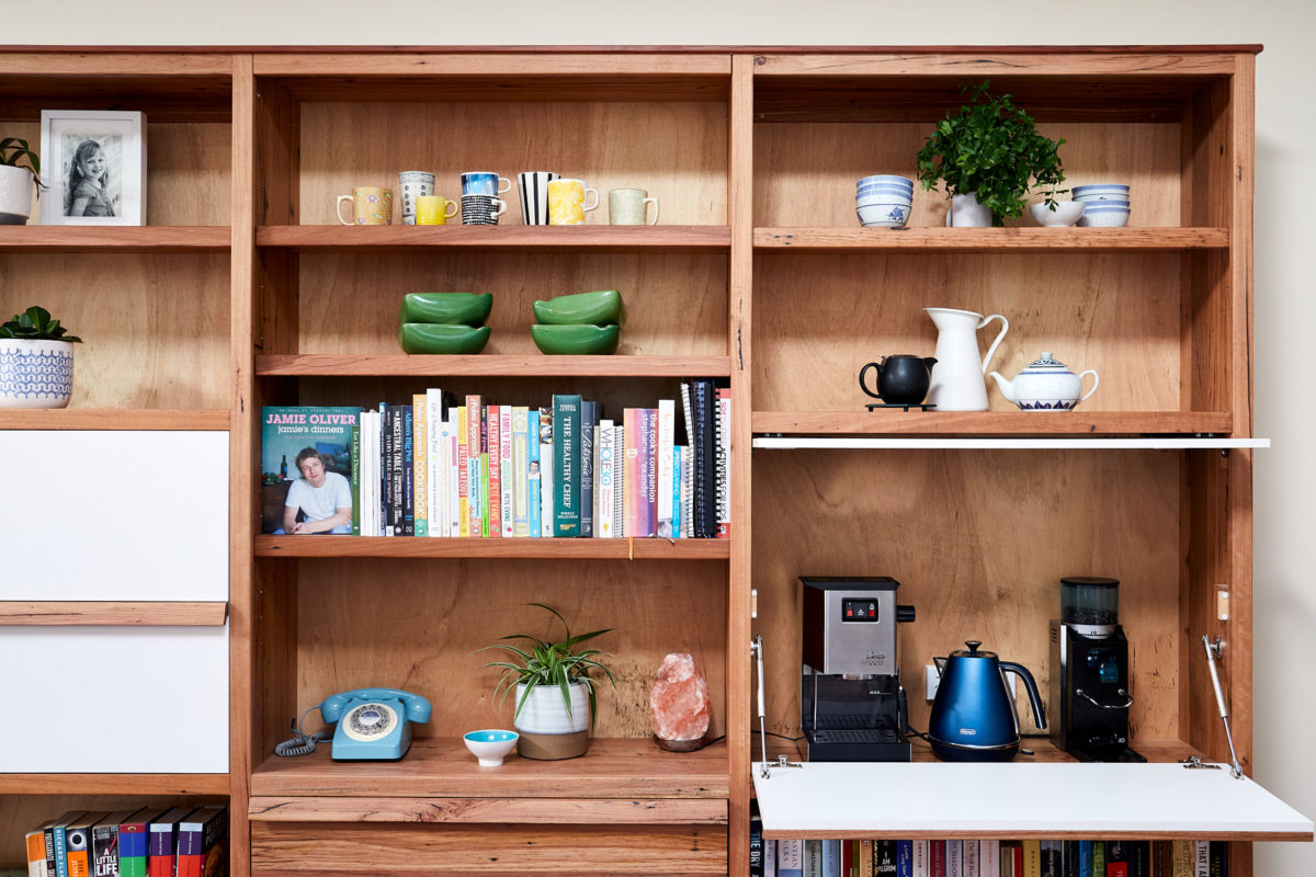 Timber bookcase appliance nook open