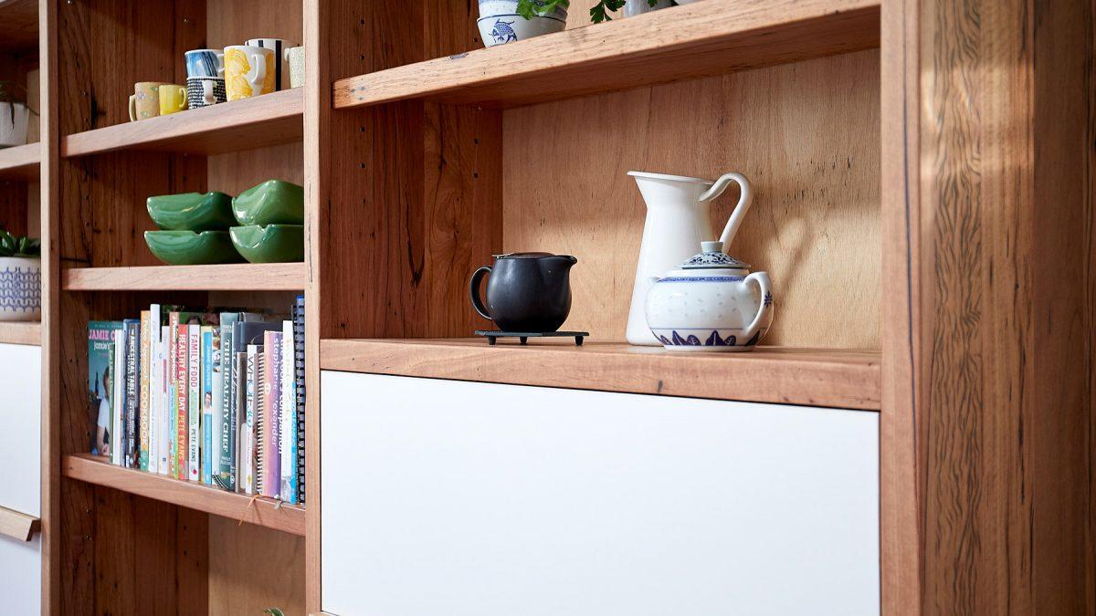 Timber bookcase shelf detail